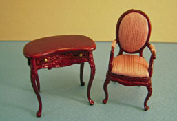 "Bespaq 1/2"" Scale Mahogany Haverson Pink Kidney Desk Set"