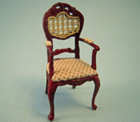 "Bespaq 1/2"" Scale Miniature Caned Back Portia Mahogany Arm Chair"