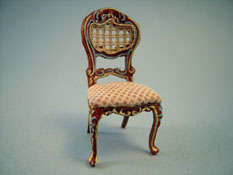 Bespaq 1/2� Scale Miniature Hand Painted Walnut and Beige Portia Side Chair