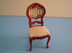 Bespaq 1/2� Scale Miniature Walnut Rich Beige Portia Side Chair