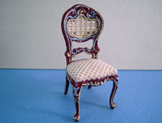 "Bespaq 1/2"" Scale Miniature Beige Mahogony Hand Painted Portia Side Chair"