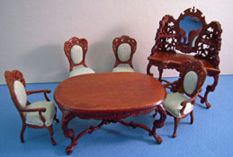 "Bespaq 1/2"" Scale Six Piece Walnut Rose Wisteria Dining Set"