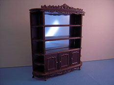"Bespaq 1/2"" Scale Old Walnut Carved Display Shelf"