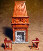"Bespaq 1/2"" Scale Revival Gallery Walnut Fireplace"