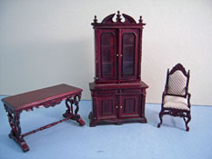 "Bespaq 1/2"" Scale Mahogany Chestney Three Piece Library Set"