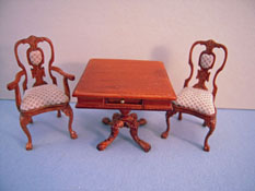 Bespaq 1/2� Scale Miniature Three Piece Portia Walnut Game Table Set