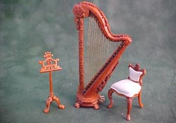 "Bespaq 1/2"" Scale Fantasy Lyre Walnut Three Piece Harp Set"
