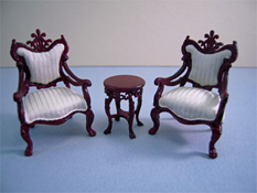 "Bespaq 1/2"" Scale Miniature Fantasy Lyre Mahogany Three Piece Table and Chair Set"