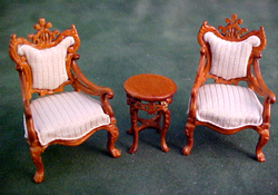 "Bespaq 1/2"" Scale Miniature Fantasy Lyre Table and Chair Set"