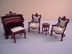 "Bespaq 1/2"" Scale Miniature Five Piece Fantasy Lyre Music Room Set"