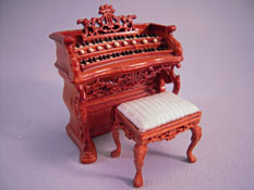 "Beautiful Bespaq 1/2"" Scale Miniature Walnut Fantasy Lyre Bombe Organ"