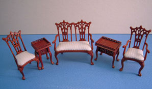 "Bespaq 1/2"" Scale Miniature Five Piece Walnut Washington Parlor Set"