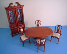 "Bespaq 1/2"" Scale Miniature Six Piece Walnut Carrington Dining Room Set"