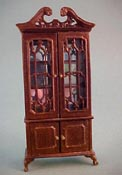 "Bespaq 1/2"" Scale Old Walnut Fancy Mullioned China Cabinet"