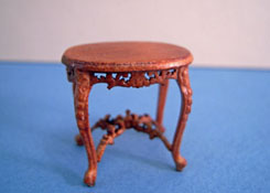 "Bespaq 1/2"" Scale Riverton Walnut Oval Carved End Table"