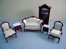 "Bespaq 1/2"" Scale Mahogany Six Piece Benoit Bombe Sofa Set"