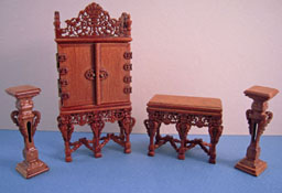 "1/2"" Scale Miniature Bespaq Walnut Grand Estate Cabinet Set"