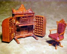 "Bespaq 1/2"" Scale Miniature Walnut Cabinet Desk Set"