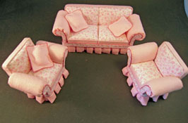 "Lee's Line 1"" Scale Three Piece Pink Shabby Chic Sofa Set"
