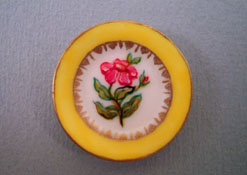 "Christopher Whitford 1"" Scale Hand Painted Decorative Yellow Rose Plate"
