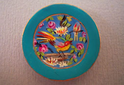"""Christopher Whitford 1"""" Scale Hand Painted Decorative Tropical Bird Plate"""