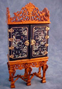 "1"" Scale Bespaq Hand Painted Black Grand Estate Cabinet"