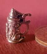 "1/2"" Scale Miniature Sterling Silver Beer Stein"