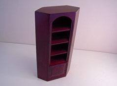 """1"""" Scale Miniature Mahogany Corner Bookcase"""