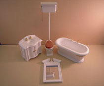 "1"" Scale Four Piece Old Fashioned Bathroom Set"