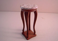 """1"""" Scale Townsquare Walnut Faux Marble Top Plant Stand"""