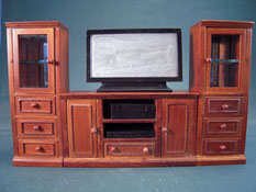 "1"" Scale Walnut Entertainment Center With TV"
