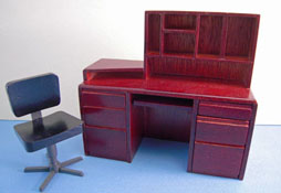 "1"" Scale Mahogany Computer Desk and Chair"