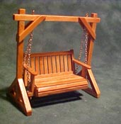 Townsquare 1/2&quot; Scale Pecan Patio Swing
