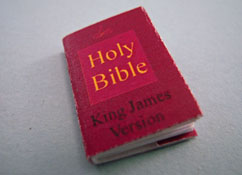 "1"" Scale Artisan Miniatures Hand Crafted Printed Book ""The Holy Bible"""