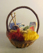 "Taylor Jade 1/2"" Scale Hand Crafted Miniature Yarn Basket"