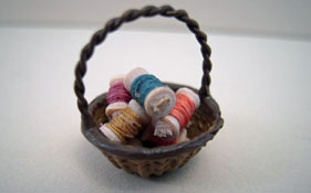 "Taylor Jade 1/2"" Scale Hand Crafted Miniature Thread Basket"