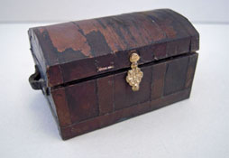 "Serendipity 1/2"" Scale Handcrafted Aged Metal Trunk"