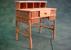 "1"" Scale Hand Crafted Wicker Writing Desk"