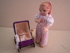 """Jan Smith 1"""" Scale Toddler Clara Pushing Her Baby"""