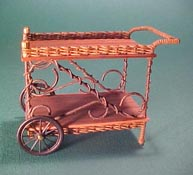 "Uncle Ciggie's 1"" Scale Hand Crafted Wicker Tea Cart"