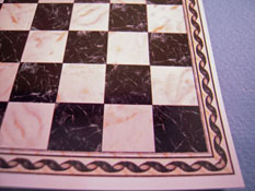 "1/2"" Scale Miniature White and Black Check Faux Marble Tile"