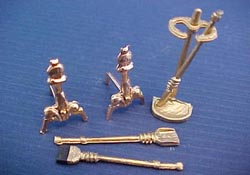 "Island Crafts 1/2"" Scale Gold Fireplace Set"