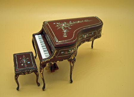 Mahogany Bespaq Hand Painted Madeline Rose Piano & Stool 1:12 Scale