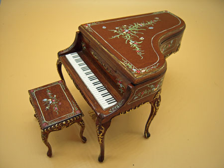 Walnut Hand Painted Madeline Rose Bespaq Piano and Stool 1:12 Scale