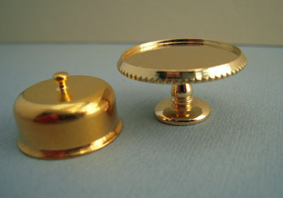 """Clare-Bell Brass Works 1"""" scale cake plate with brass cover"""