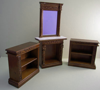 "1"" scale Bespaq walnut Hiram Fireplace and Bookcase Set"