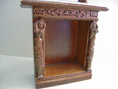 "1"" scale miniature Bespaq walnut Hiram Fireplace"