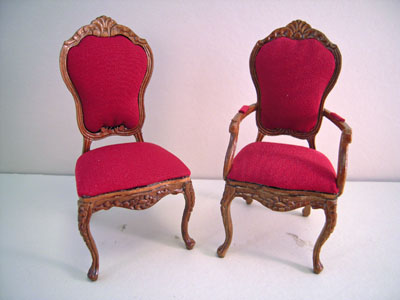 "1"" scale Bespaq Ruby Red walnut chairs"