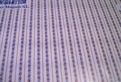 """wm24574 1/2"""" scale blue rose vertical striped wallpaper"""
