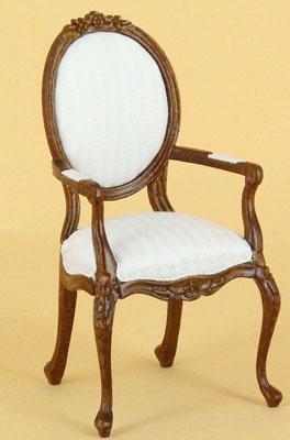 "1"" scale Bespaq Petite Francoise arm chair walnut"